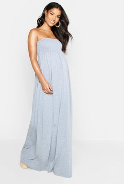 Maternity Shirred Maxi Dress - Grey - 10
