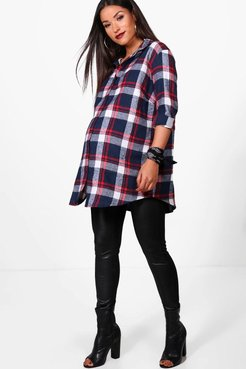 Maternity Flannel Shirt - Blue - 10