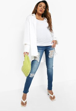 Maternity Rip Skinny Over The Bump Jean - Blue - 8