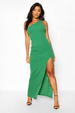 One Shoulder Maxi Dress - Green - 10