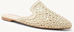 Pointed Woven Mule Loafers - Beige - 9
