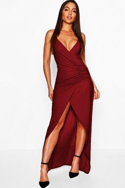 Crepe Plunge Wrap Detail Maxi Dress - Red - 4