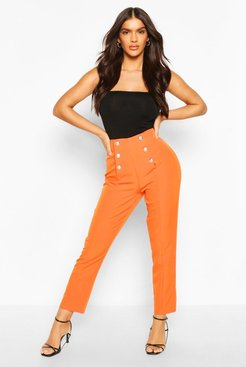 Military Button Detail Tapered Pants - Orange - 10