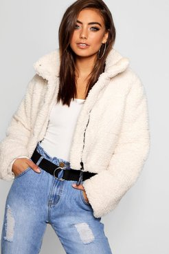 Crop Fleece Oversized Puffer Jacket - White - 8