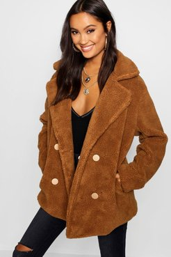 s Double Breasted Teddy Faux Fur Coat - Brown - 6