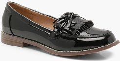 Bow And Fringe Loafers - Black - 8