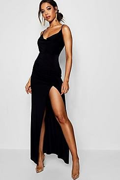 Cowl Neck Ruched Detail Maxi Dress