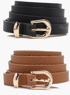 Skinny Belts 2 Pack - Brown - One Size