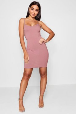 Basic Strappy Cami Bodycon Dress - Pink - 8