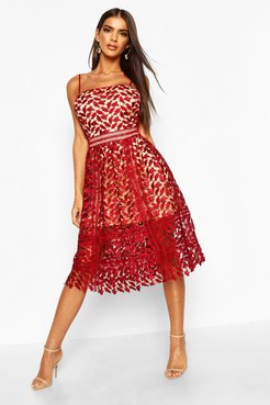 Corded Lace Detail Midi Skater Dress - Red - 8