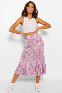 Floral Drop Hem Floaty Midi Skirt - Purple - 10