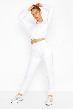 Crop Sweatshirt And Jogger Tracksuit - White - L