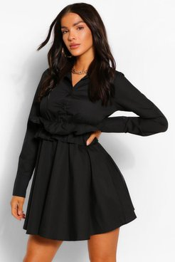 Cotton Ruffle Waist Long Sleeve Shirt Skater Dress - Black - 4