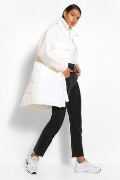 Teddy Faux Fur Mix Longline Belted Puffer Jacket - White - 4