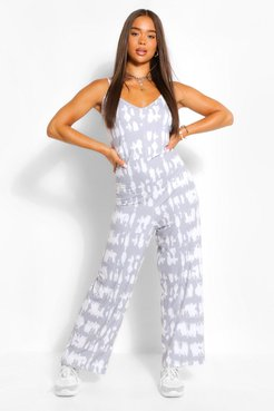 Tonal Tie Dye Oversized Wide Leg Jumpsuit - Grey - 6