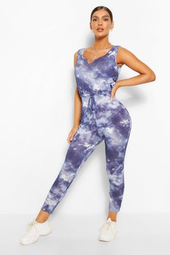 Tie Dye Ribbed Sleeveless Jumpsuit - Navy - 6