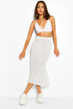 Polka Dot Drop Hem Woven Midi Skirt - White - 4