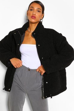 Teddy Faux Fur Mix Puffer Jacket - Black - 10