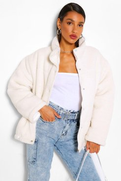 Teddy Faux Fur Mix Puffer Jacket - White - 12