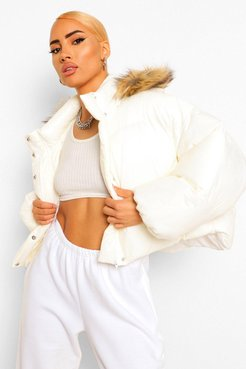 Faux Fur Trim Hooded Puffer Jacket - White - 6