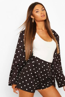 Pleated Front Polka Dot Tailored Shorts - Black - 6