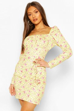 Milkmaid Bow Detail Dress - Yellow - 10