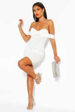 Off The Shoulder Cupped Mini Dress - White - 8