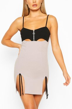 Cut Out Mini Dress With Side Split Detail - Grey - 8