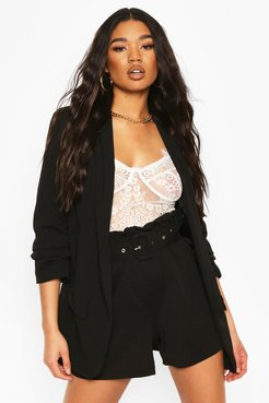 Tailored Paper Bag Belted Shorts - Black - 8