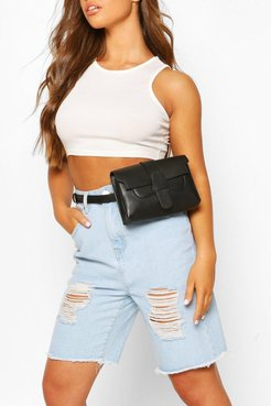 s Pu Tab Detail Fanny Pack - Black - One Size