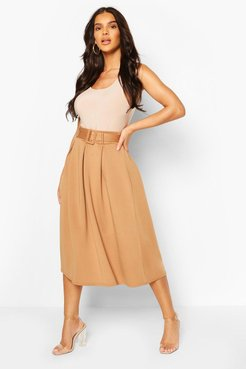 Self Fabric Belted Pleat Midi Skirt - Beige - 6