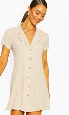 Short Sleeve Collar Button Mini Dress - Beige - 8