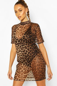 Mesh High Neck Short Sleeved Leopard Bodycon Dress - Brown - 4