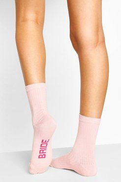 Bride To Be Ribbed Socks - Pink - One Size