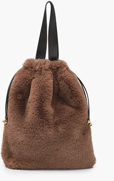 s Faux Fur Multiway Tote & Rucksack - Brown - One Size