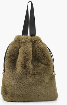 s Faux Fur Multiway Tote & Rucksack - Green - One Size