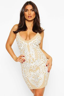 Feature Front Print Strappy Mini Dress - Beige - 4