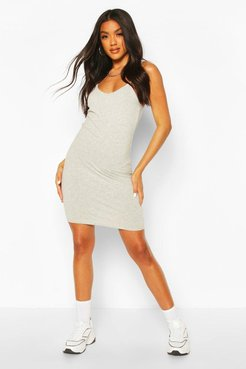 Basic Strappy Cami Bodycon Dress - Grey - 4