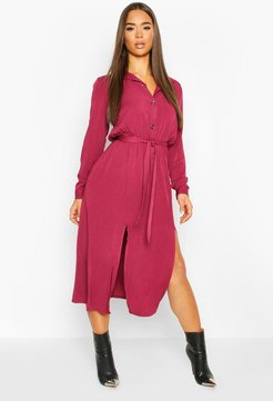 Collar Button Through Belted Midi Dress - Red - 8