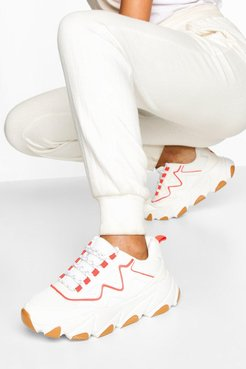 Contrast Sole Chunky Sneakers - White - 5