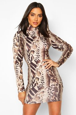 Leopard Puff Sleeve Bodycon Dress - Brown - 6