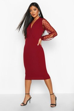Polka Dot Mesh Sleeve Wrap Midi Dress - Red - 6