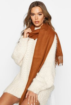 Brushed Fringe Scarf - Brown - One Size