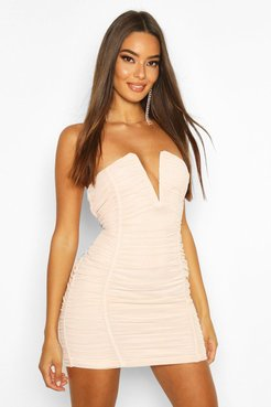 Bandeau V Bar Mesh Mini Dress - Beige - 8