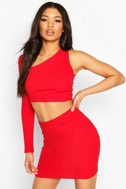 Asymetric One Shoulder Top & Skirt Co-Ord Set - Red - 10