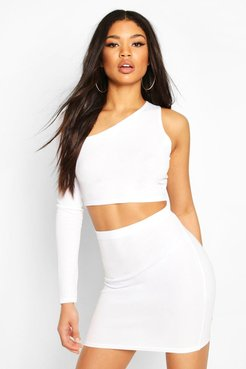 Asymetric One Shoulder Top & Skirt Co-Ord Set - White - 4