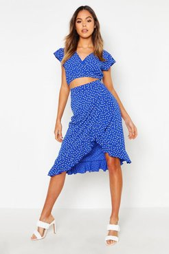 Polka Dot Ruffle Midi Skirt - Blue - 10