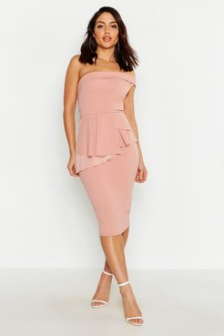 Off The Shoulder Waist Peplum Midi Dress - Pink - 2