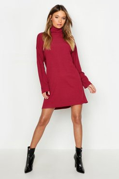 Roll Neck Ribbed Long Sleeve Mini Dress - Red - 6