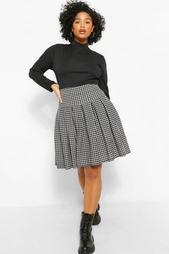 Plus Dogtooth Flannel Printed Tennis Skirt - Black - 12